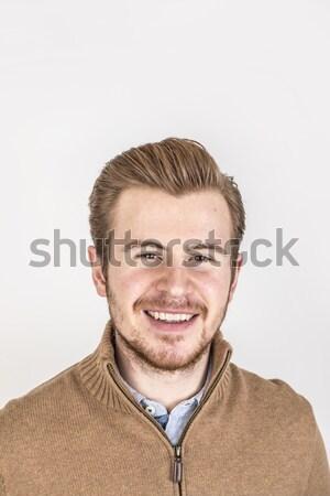 Barátságos néz tizenéves fiú portré stúdió modell Stock fotó © meinzahn