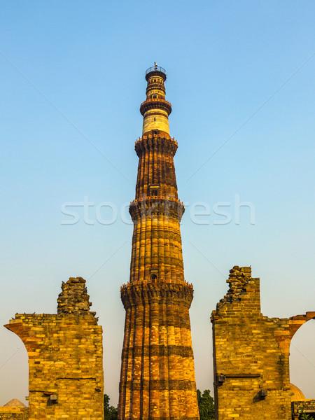 Híres torony Delhi India utazás építészet Stock fotó © meinzahn