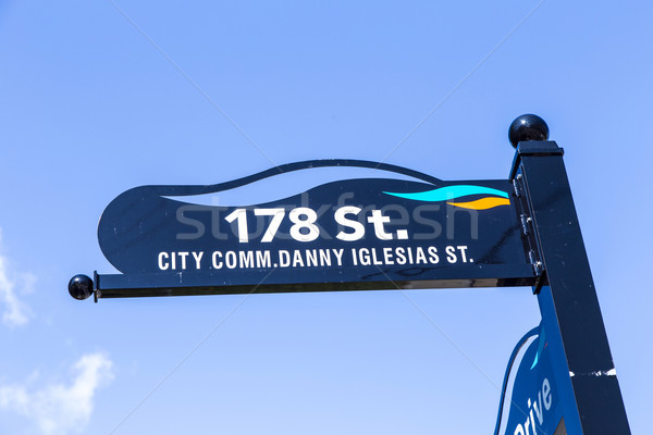 typical street sign in sunny islands under blue sky Stock photo © meinzahn