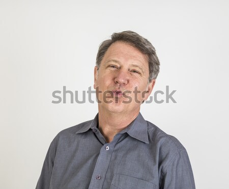 Closeup portrait of sad  stressed man Stock photo © meinzahn