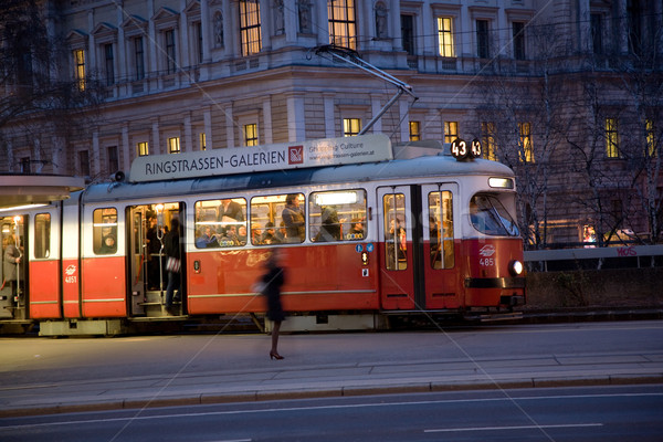 Stock photo: famous streetcar in vienna by night