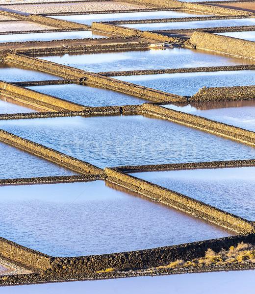 Tuz rafineri arka plan okyanus göl ada Stok fotoğraf © meinzahn