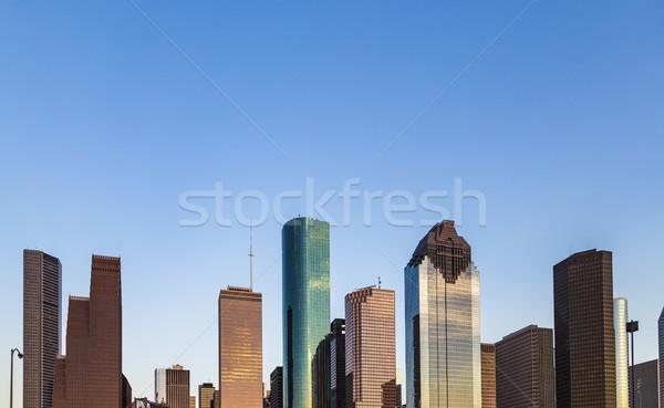 Ver centro da cidade Houston tarde tarde arranha-céu Foto stock © meinzahn