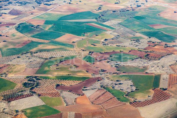 Antenne platteland velden rond Madrid achtergrond Stockfoto © meinzahn