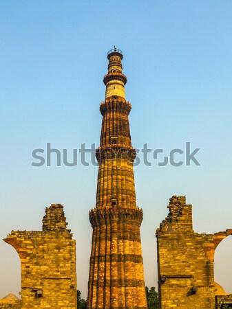 Célèbre tour Delhi Inde Voyage architecture Photo stock © meinzahn