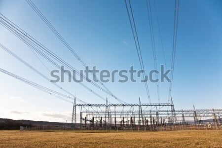 electrical tower and open air power line in nice landscape  Stock photo © meinzahn