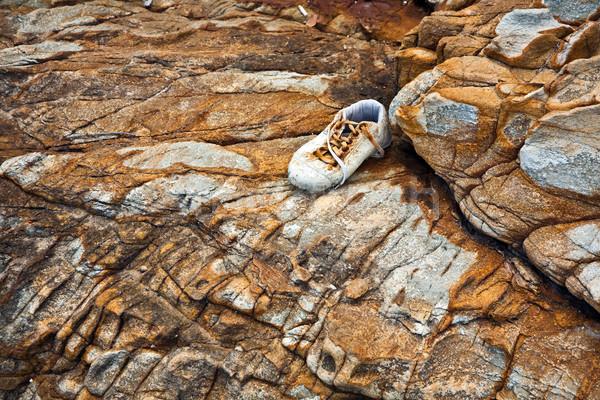 Schönen Zeilen Steine Eindruck Schuh Stock foto © meinzahn