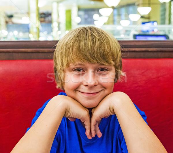 肖像 笑みを浮かべて 少年 笑顔 子供 1泊 ストックフォト © meinzahn