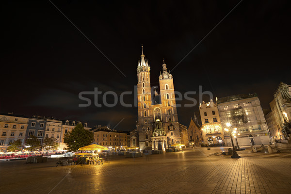Gotik kilise krakow Polonya gece bulut Stok fotoğraf © meinzahn