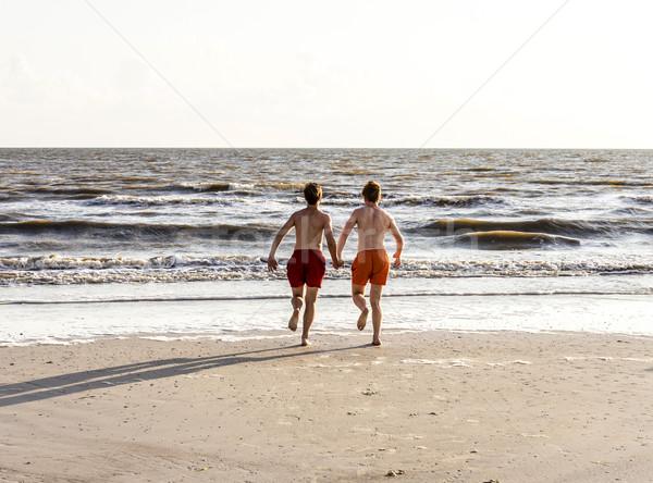 Teenager Joggen Strand schönen Körper Schönheit Stock foto © meinzahn