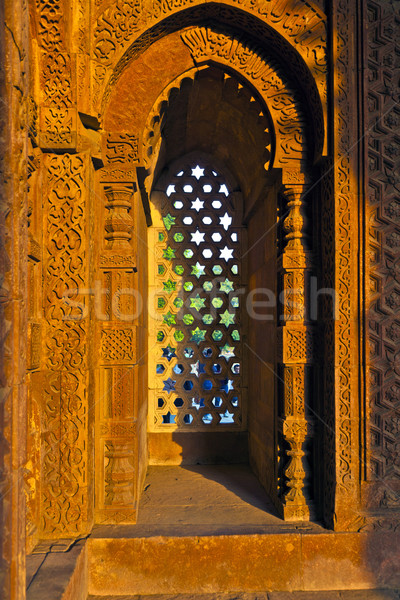 Qutb Minar, Delhi, carvings in the sandstone of a window gives a Stock photo © meinzahn