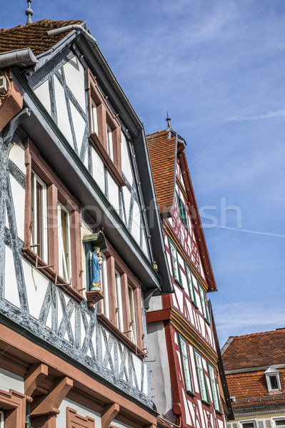 half timbered houses in Seligenstadt, Germany under blue sky Stock photo © meinzahn