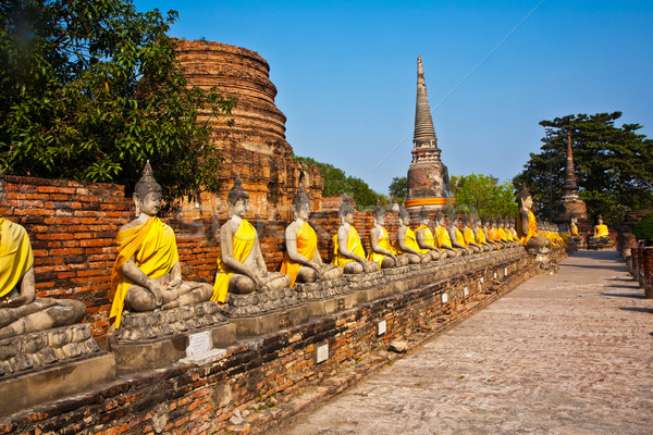 Buddha statues at the temple of Wat Yai Chai Mongkol  Stock photo © meinzahn