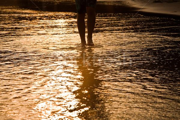 ходьбе человека воды пляж подсветка ребенка Сток-фото © meinzahn
