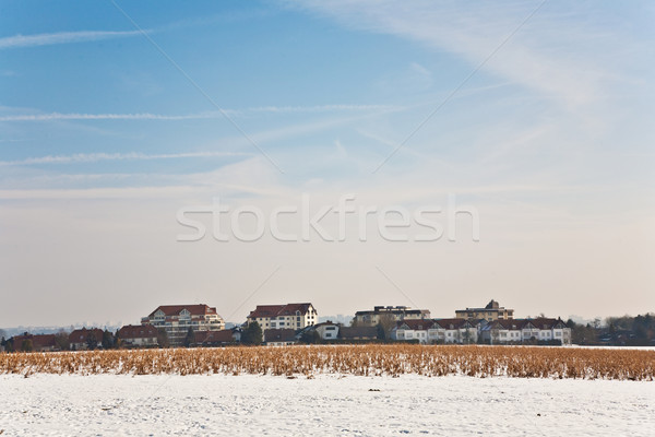 beautiful landscape with water tower and housing area in winter  Stock photo © meinzahn