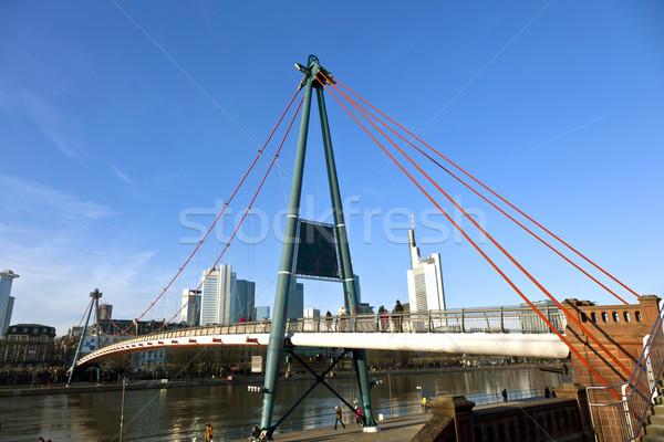 öreg híd Frankfurt délelőtt fő- Németország Stock fotó © meinzahn