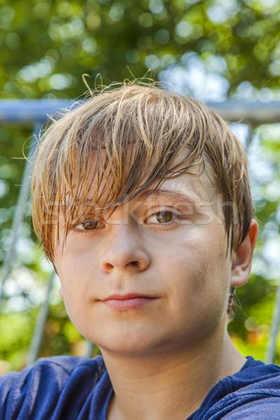 Fiatal vidám fiú izzadás kimerült fiatal srác gyerekek Stock fotó © meinzahn