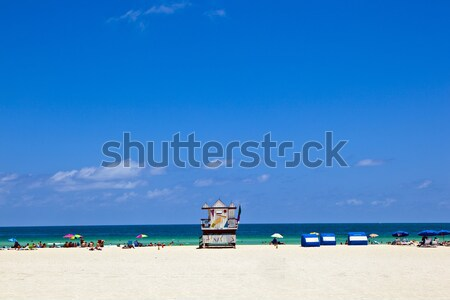 wooden bay watch huts in Art deco style Stock photo © meinzahn