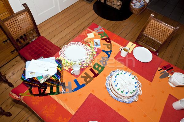 именинный торт таблице готовый празднования семьи Сток-фото © meinzahn