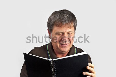 Portret gelukkig man ernstig naar glimlach Stockfoto © meinzahn