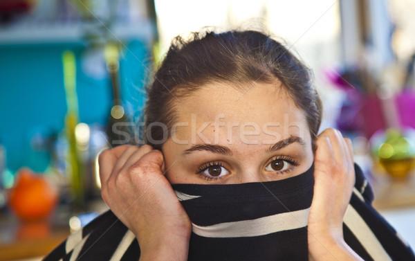 Zdjęcia stock: Portret · atrakcyjna · dziewczyna · uśmiechnięty · domu · dziewczyna · oczy
