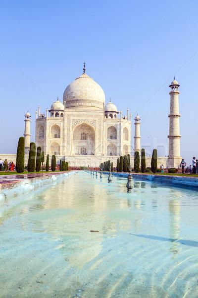 Taj Mahal napfelkelte fény égbolt víz szeretet Stock fotó © meinzahn