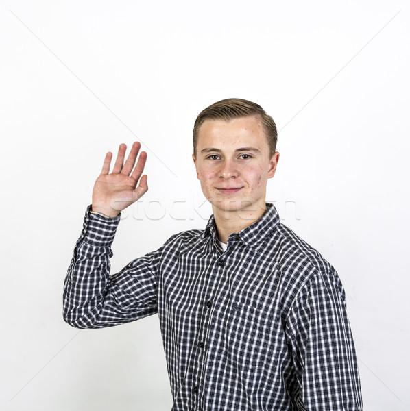Jongen handen smart hand tiener Stockfoto © meinzahn