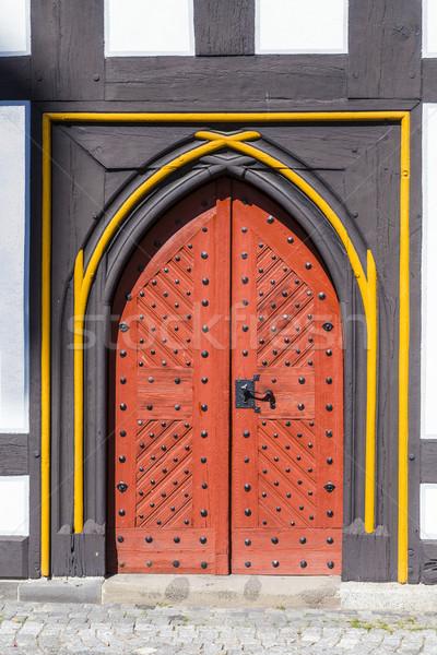 old door at medieval houses in Schotten Stock photo © meinzahn
