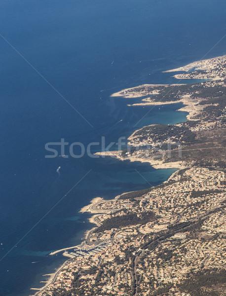 coastal aerial near Marseille with harbor under blue sky Stock photo © meinzahn