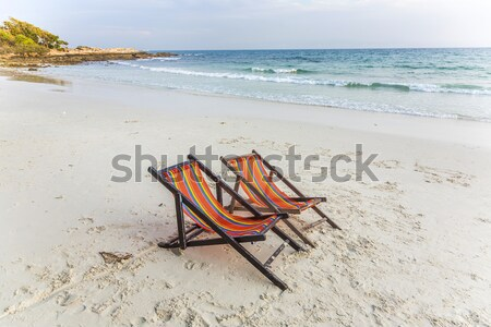 Doek stoel strand zandstrand water landschap Stockfoto © meinzahn