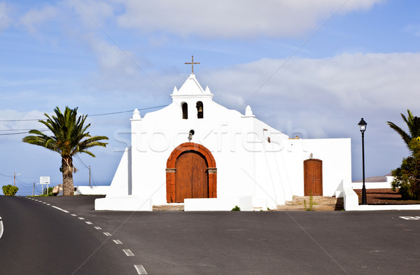 Spain Canary Islands Lanzarote pretty whitewashed chapel overloo Stock photo © meinzahn