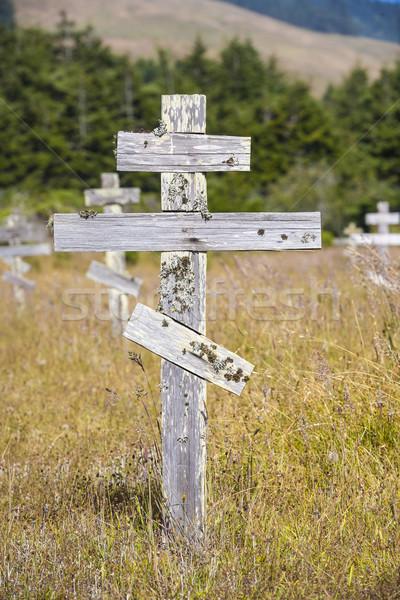 Edad cruces histórico ortodoxo cementerio fuerte Foto stock © meinzahn