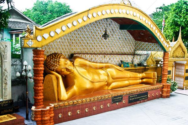 lying buddah in a temple in Bangkok Stock photo © meinzahn