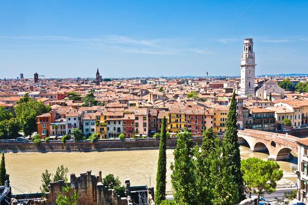 Verona panorâmico ver colina medieval cidade Foto stock © meinzahn
