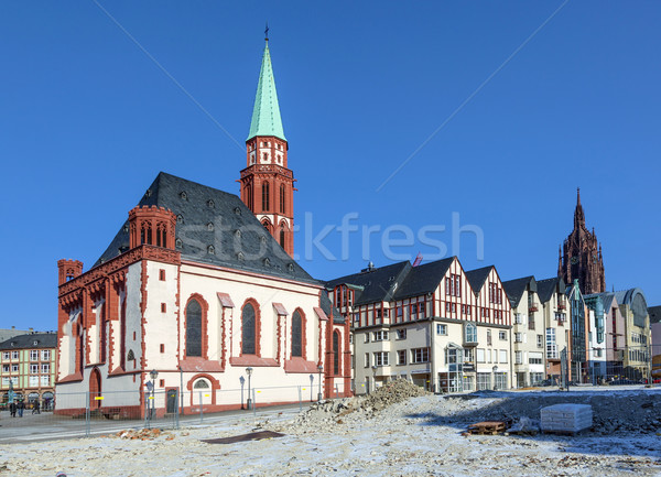 famous Nikolai Church in Frankfurt at the central roemer place Stock photo © meinzahn