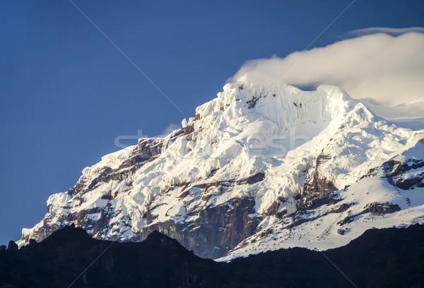 Sneeuw vulkaan Ecuador ochtend licht berg Stockfoto © meinzahn