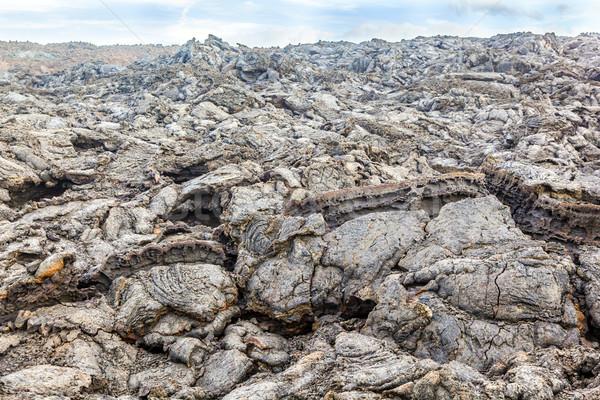 Part kövek vulkáni áramlás égbolt Föld Stock fotó © meinzahn