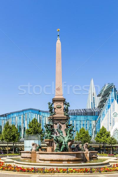 historic fountain in Leipzig on Augustus square Stock photo © meinzahn