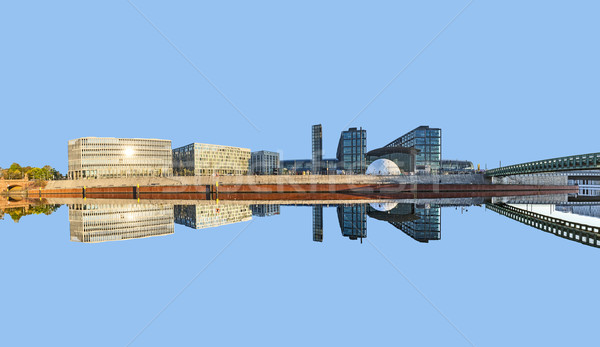 morning view of Central station with reflection from river Spree Stock photo © meinzahn