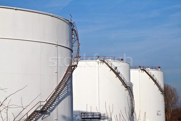 white tanks in tank farm with blue sky Stock photo © meinzahn