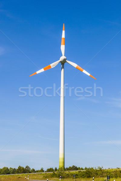 Szélmalom energia nyár szellő utca technológia Stock fotó © meinzahn