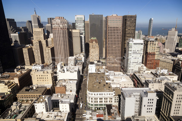 Felhőkarcolók belváros San Francisco késő délután út Stock fotó © meinzahn