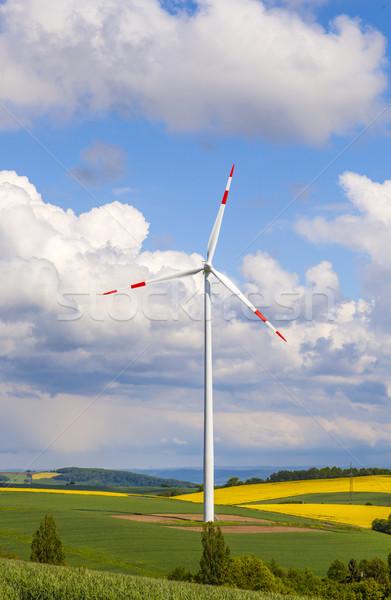 Turbina eólica eletricidade blue sky grama verde indústria Foto stock © meinzahn