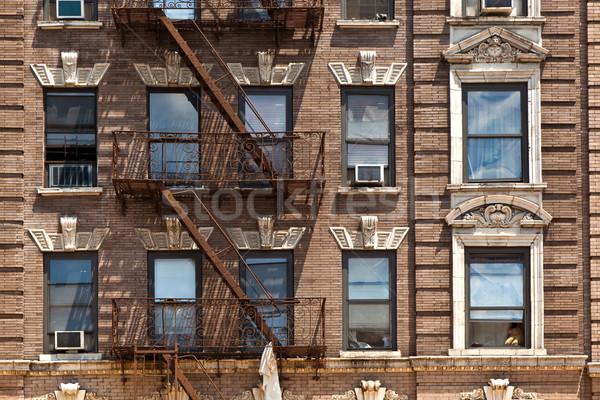 Stockfoto: Brand · ladder · oude · huizen · centrum · New · York