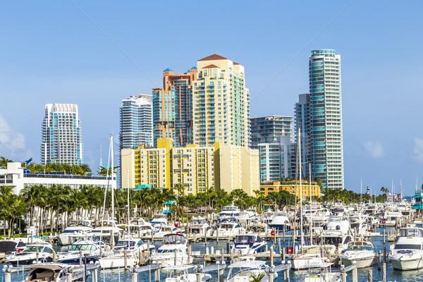 Miami south beach marina with skyline Stock photo © meinzahn