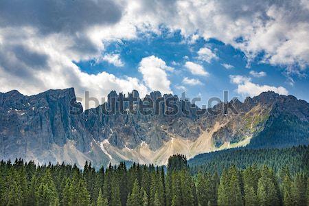 Lake with mountain forest landscape, Lago di Carezza Stock photo © meinzahn