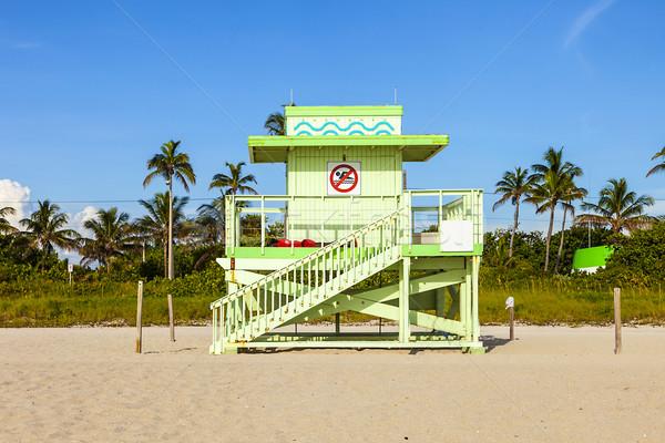wooden bay watch hut at the beach Stock photo © meinzahn