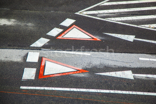 yield sign marked at the street in vienna  Stock photo © meinzahn
