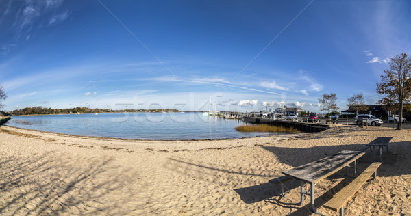 scenic view to beach and harbor of Sag Harbor Stock photo © meinzahn