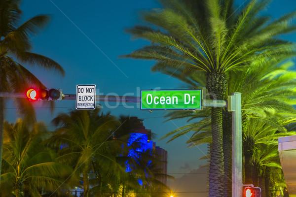 Miami Beach South Beach sunset in Ocean Drive sign Florida Stock photo © meinzahn